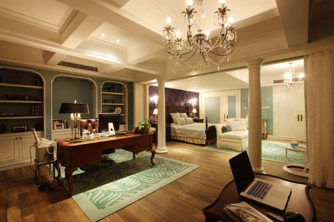 别墅样板房卧室,将书房设置在卧室盘